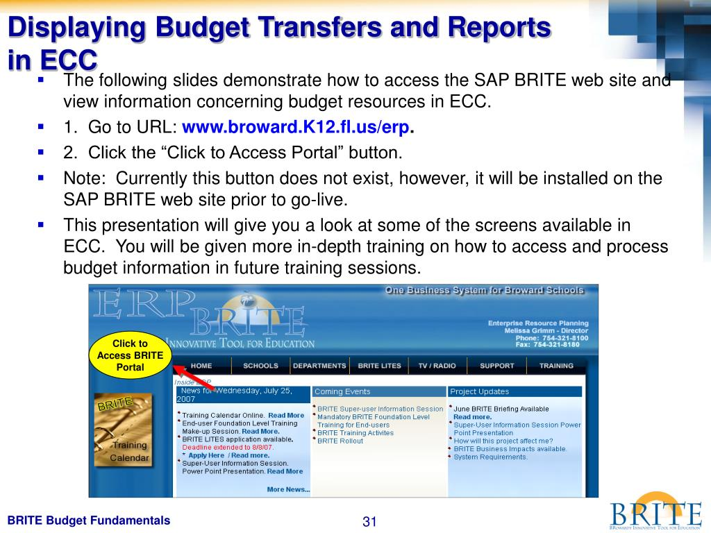Displaying Budget Transfers and Reports in ECC