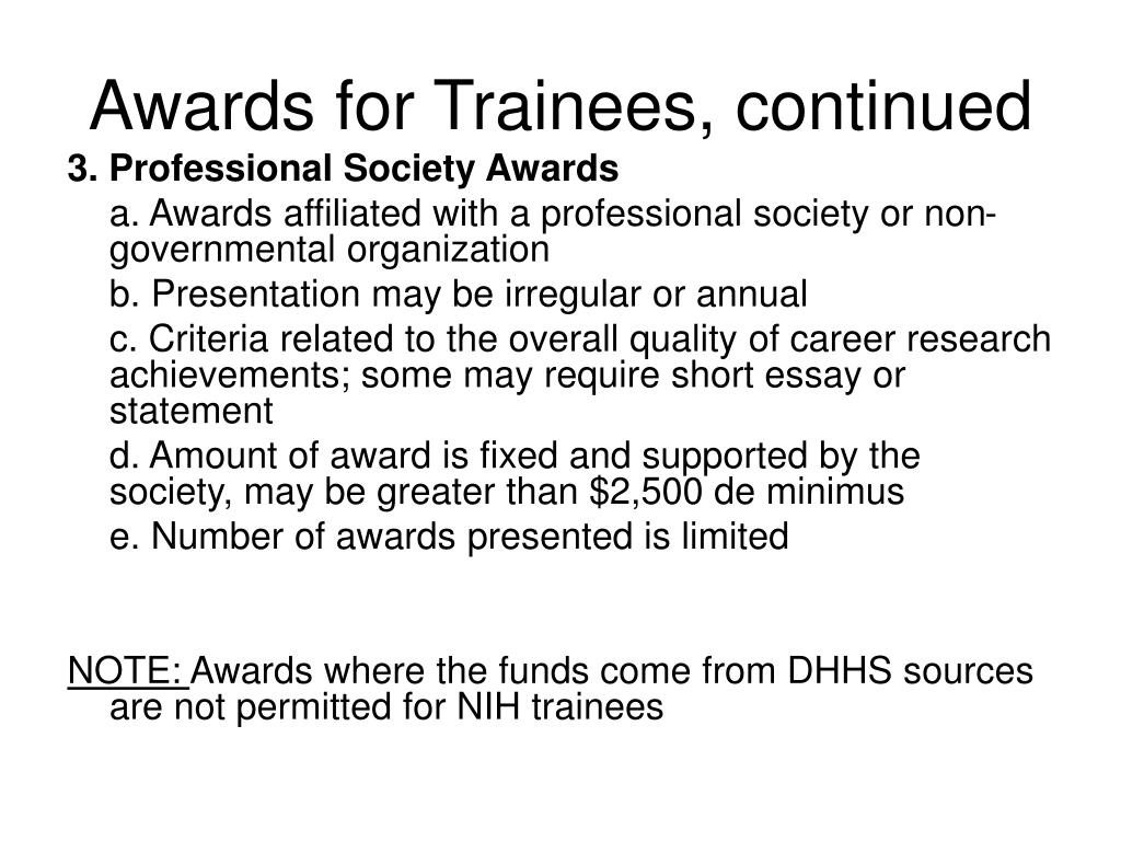 Awards for Trainees, continued