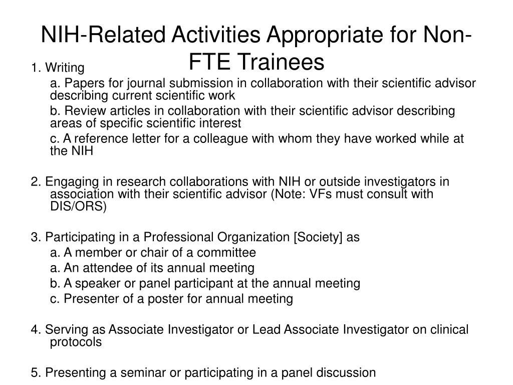 NIH-Related Activities Appropriate for Non-FTE Trainees