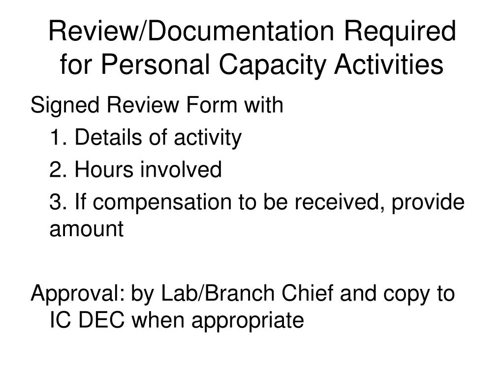 Review/Documentation Required for Personal Capacity Activities