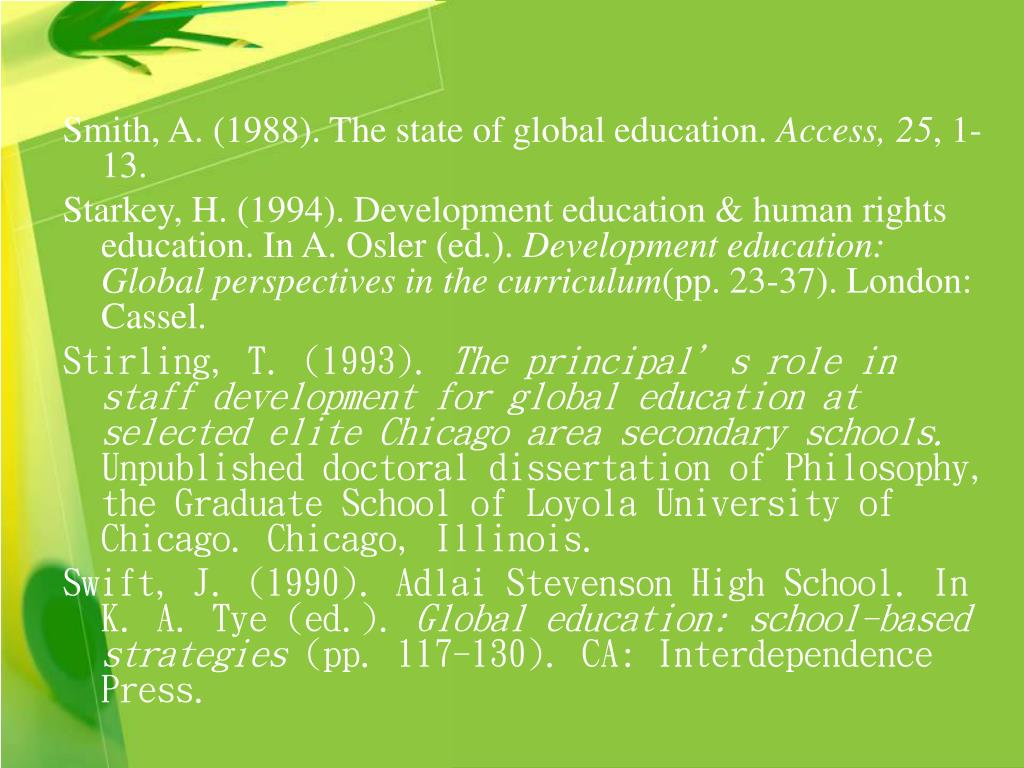 Smith, A. (1988). The state of global education.