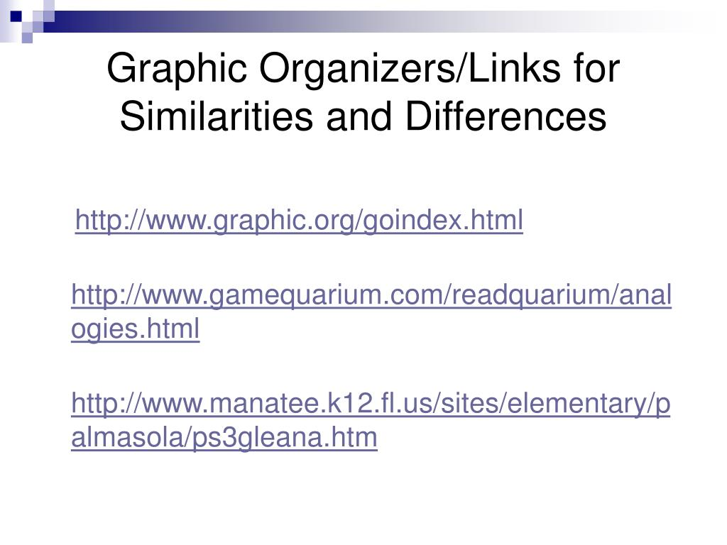 Graphic Organizers/Links for Similarities and Differences