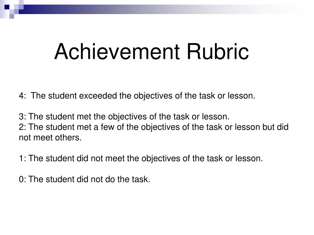 Achievement Rubric
