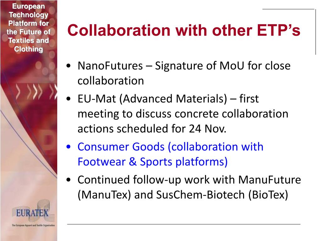 Collaboration with other ETP's