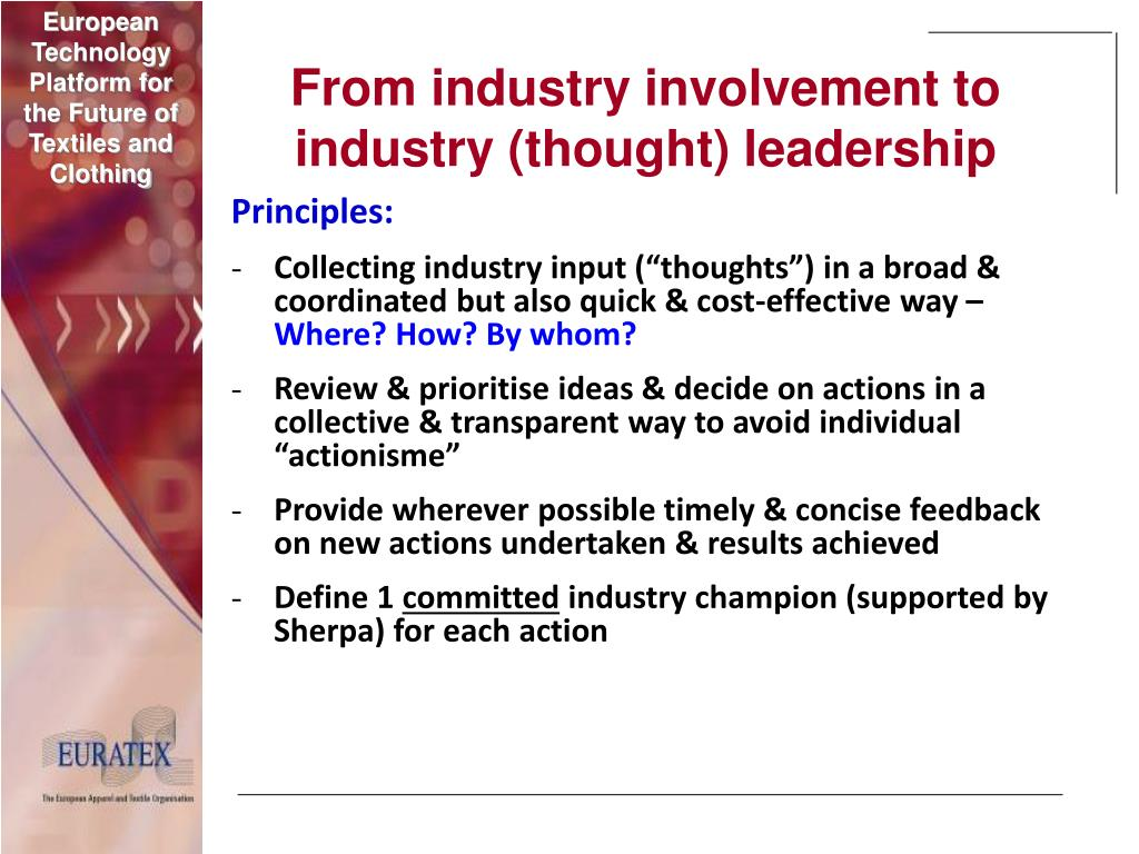 From industry involvement to industry (thought) leadership
