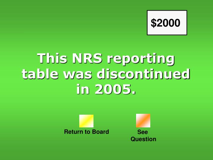 This NRS reporting table was discontinued in 2005.
