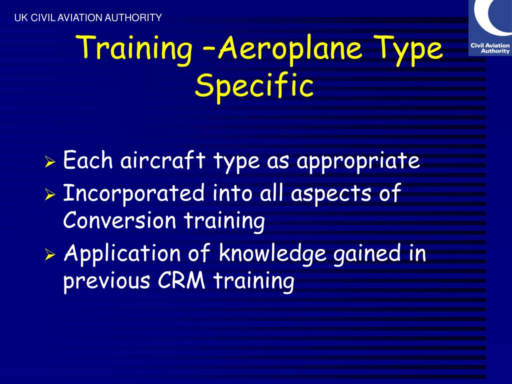 Training –Aeroplane Type Specific