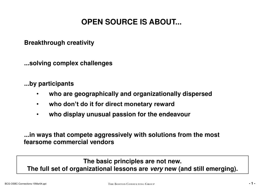 OPEN SOURCE IS ABOUT...