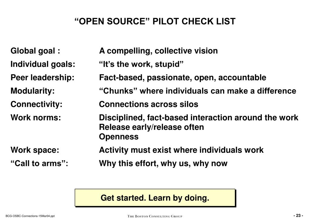 """OPEN SOURCE"" PILOT CHECK LIST"