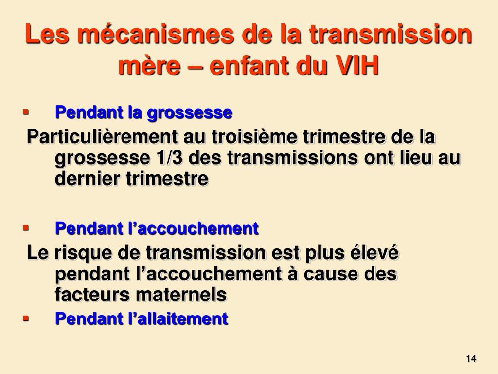 Les mécanismes de la transmission mère – enfant du VIH