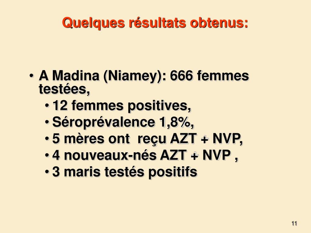 Quelques résultats obtenus: