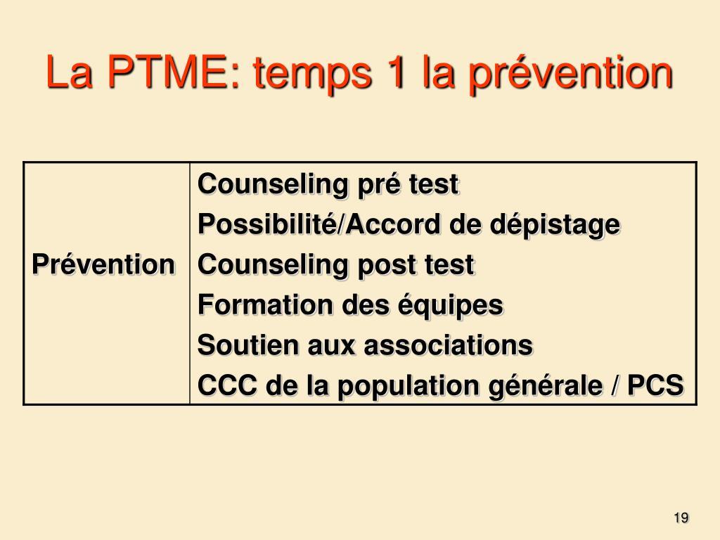 La PTME: temps 1 la prévention