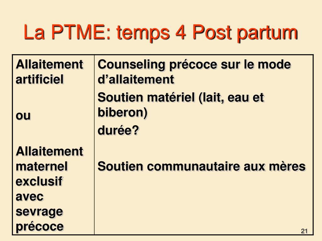 La PTME: temps 4 Post partum