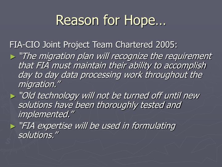 Reason for Hope…