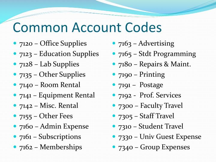 Common Account Codes