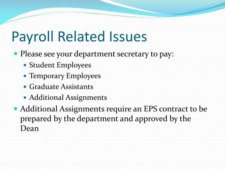Payroll Related Issues