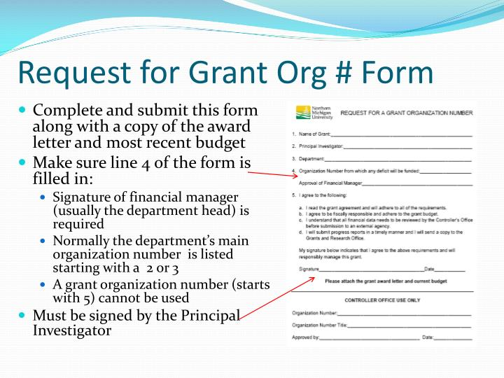 Request for Grant Org # Form