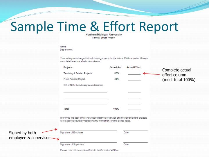 Sample Time & Effort Report