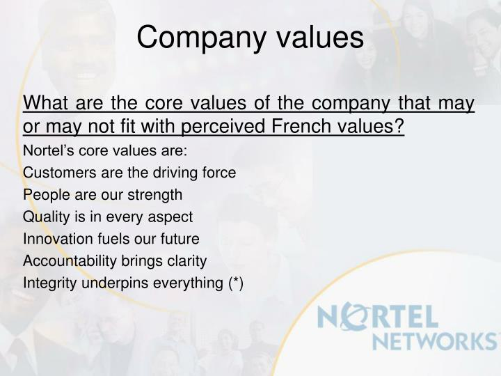 What are the core values of the company that may or may not fit with perceived French values?