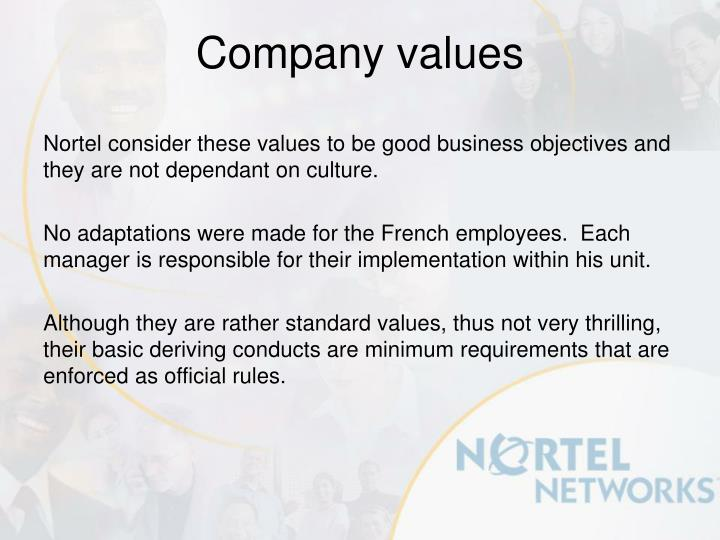 Nortel consider these values to be good business objectives and they are not dependant on culture.