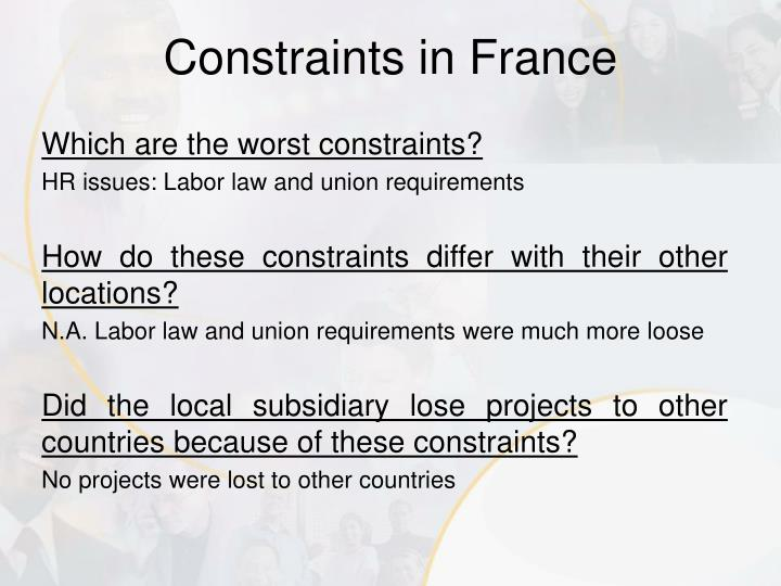 Which are the worst constraints?