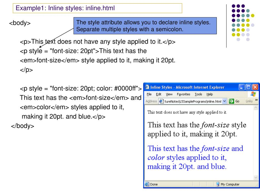 Example1: Inline styles: inline.html