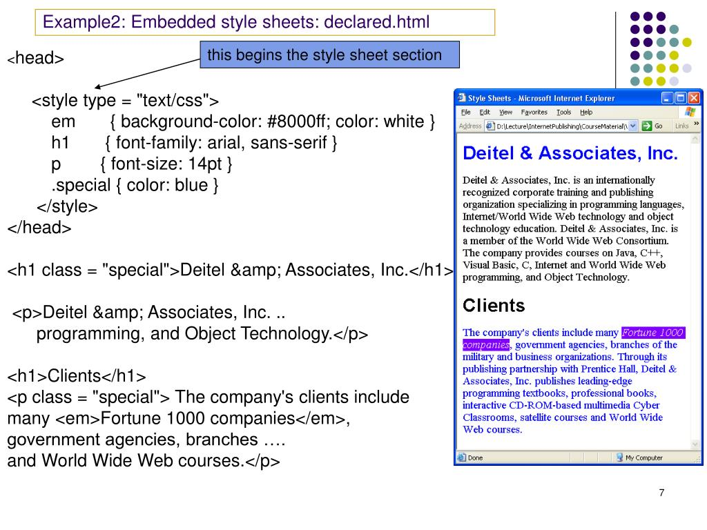 Example2: Embedded style sheets: declared.html