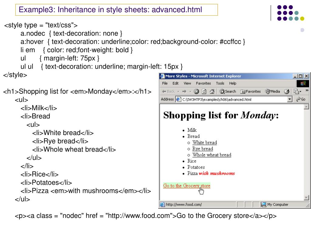 Example3: Inheritance in style sheets: advanced.html