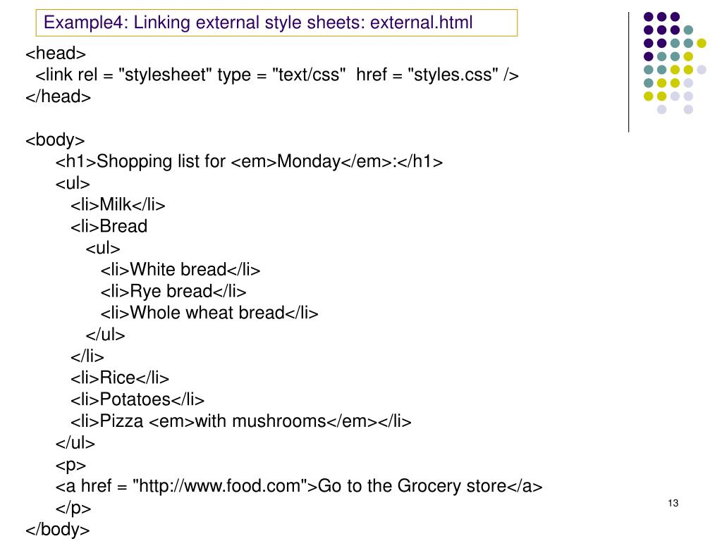 Example4: Linking external style sheets: external.html