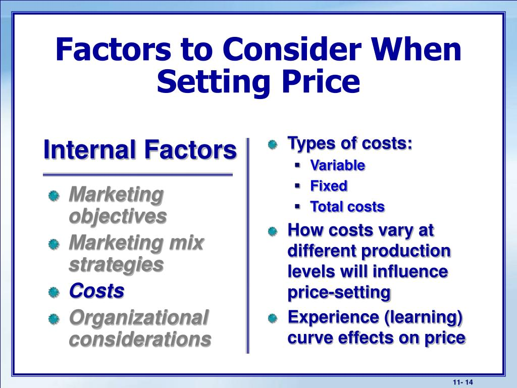 Types of costs: