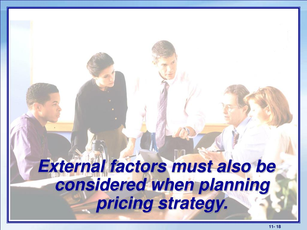 External factors must also be considered when planning pricing strategy.