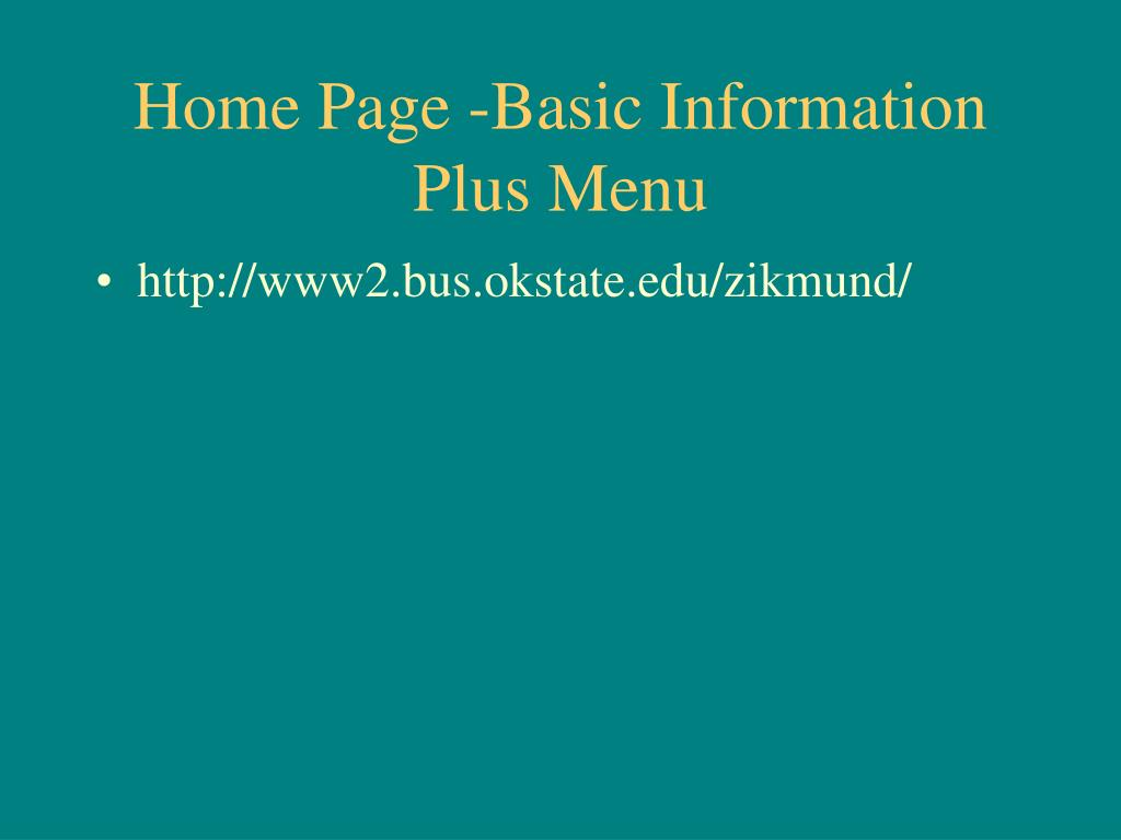 Home Page -Basic Information Plus Menu