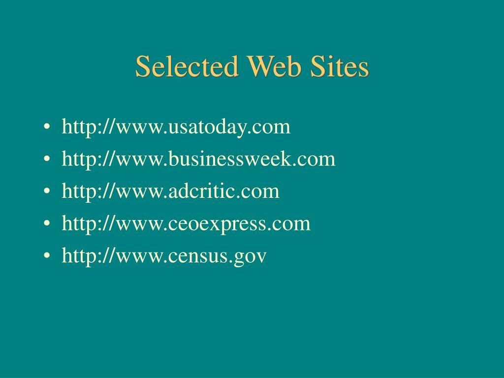 Selected Web Sites