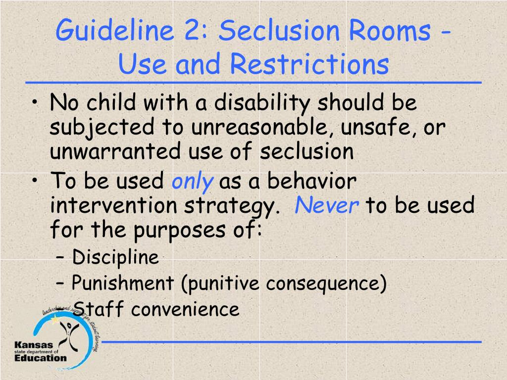 """is the use of seclusion rooms The school had two unregistered seclusion rooms, and a third it called a """"calming room"""" the investigation found one student spent a total of 24 days in the calming room."""