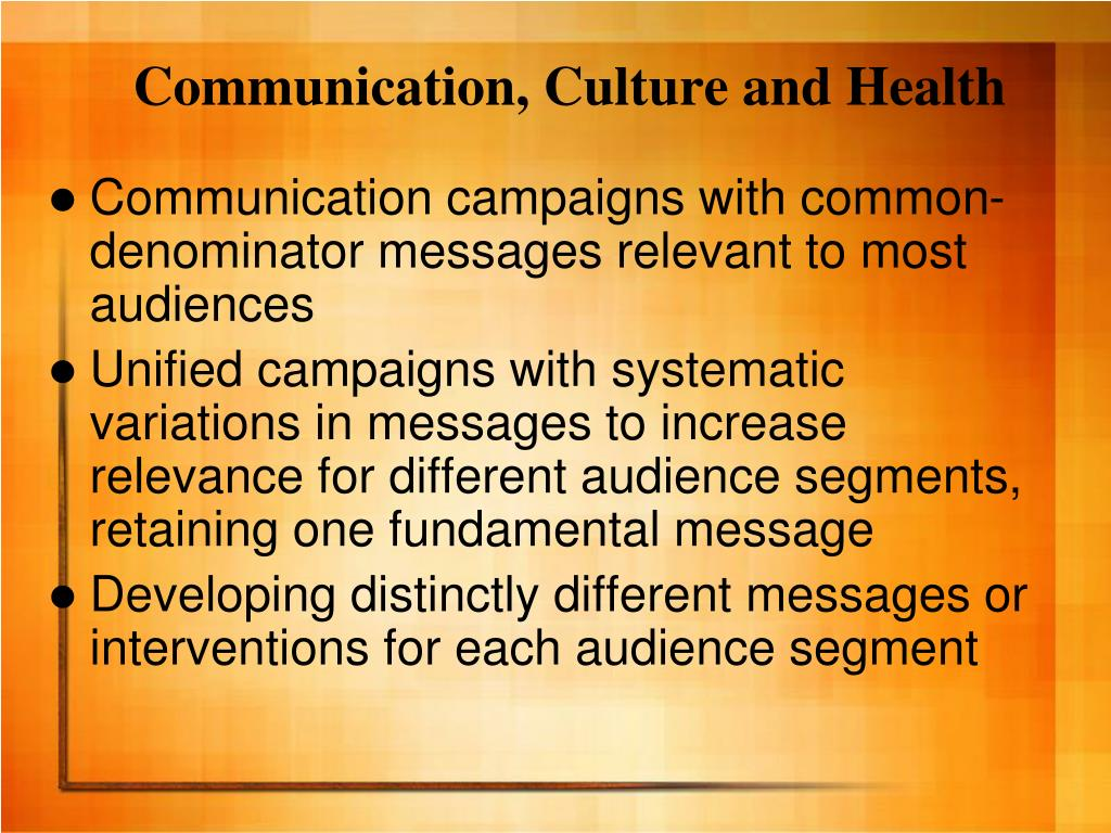 Communication, Culture and Health