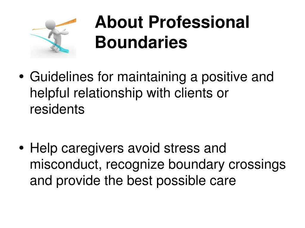 professional boundaries Professional boundaries are an important consideration in the relationship between any professional and his/her client.