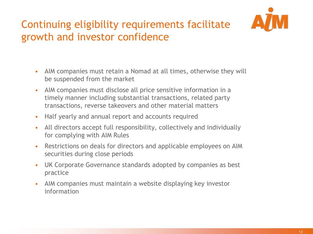 Continuing eligibility requirements facilitate growth and investor confidence