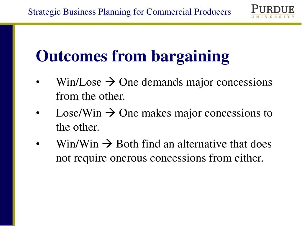 Outcomes from bargaining