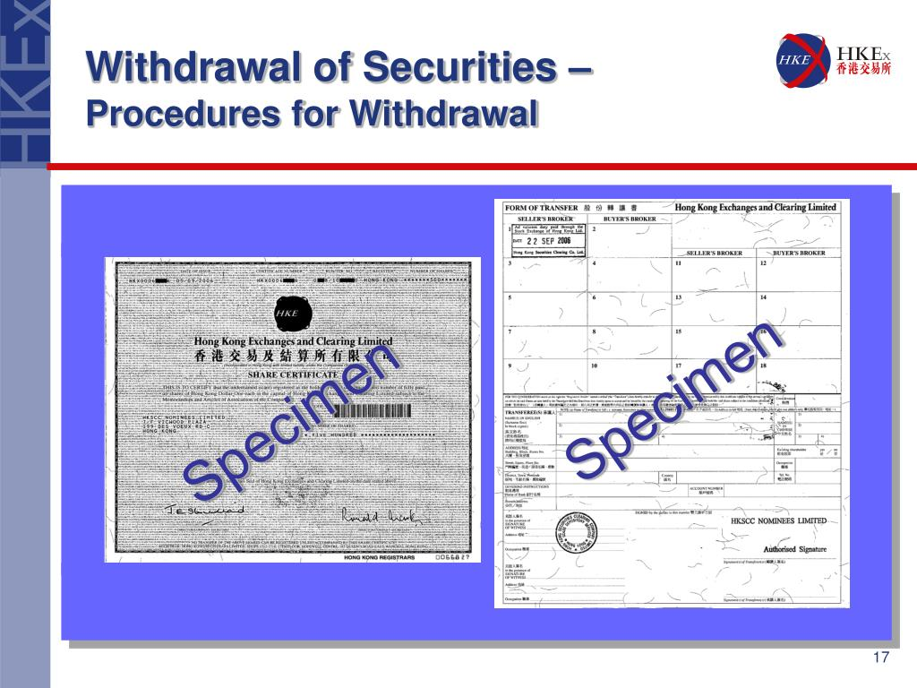 Withdrawal of Securities –