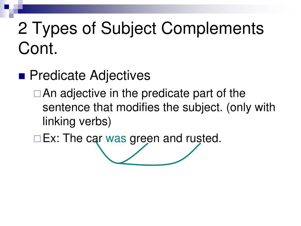 2 Types of Subject Complements Cont.