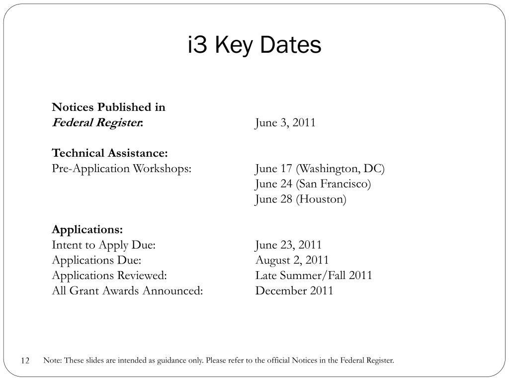 i3 Key Dates