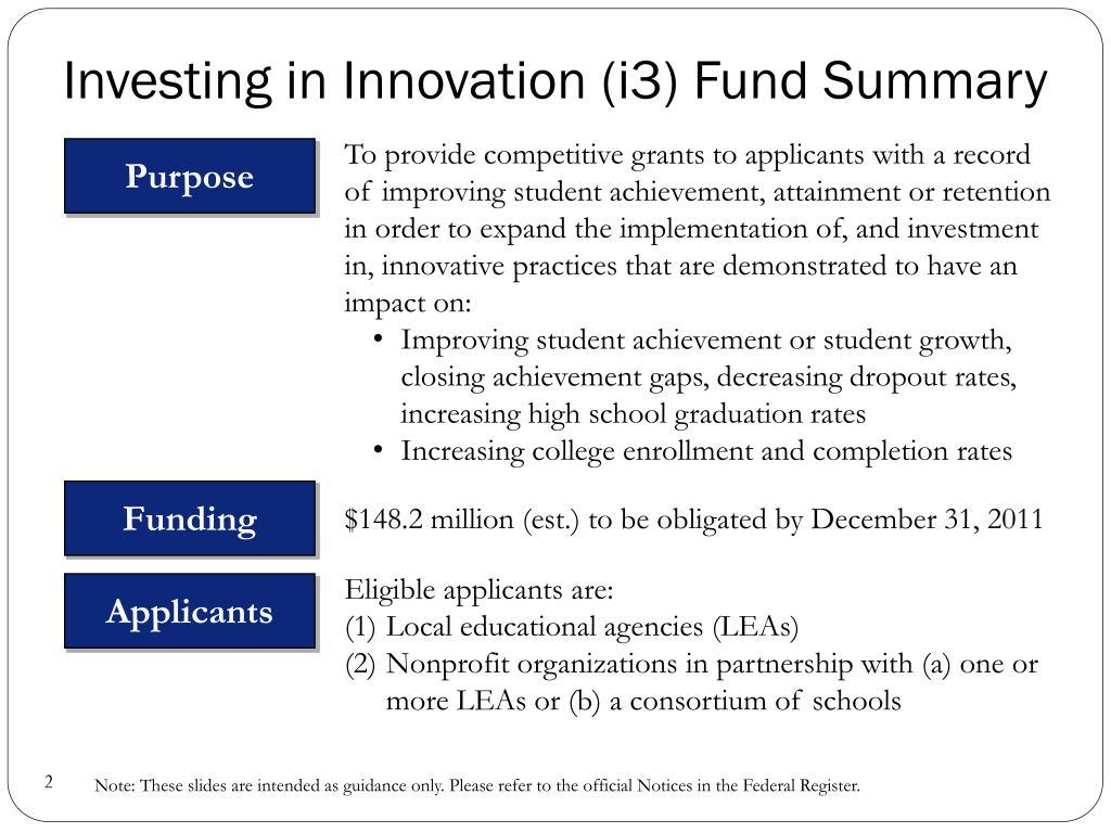 Investing in Innovation (i3) Fund Summary
