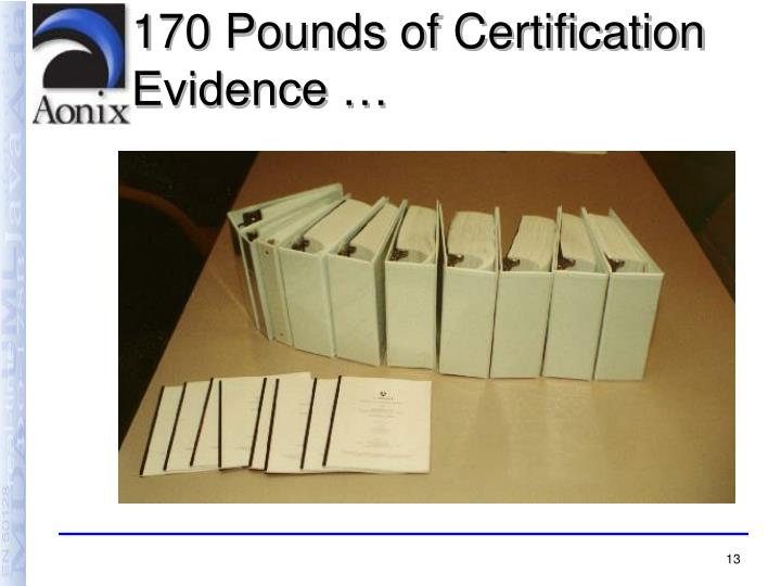 170 Pounds of Certification Evidence …