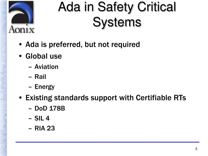 Ada in safety critical systems
