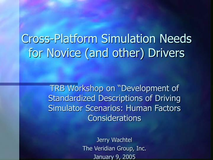 Cross platform simulation needs for novice and other drivers l.jpg