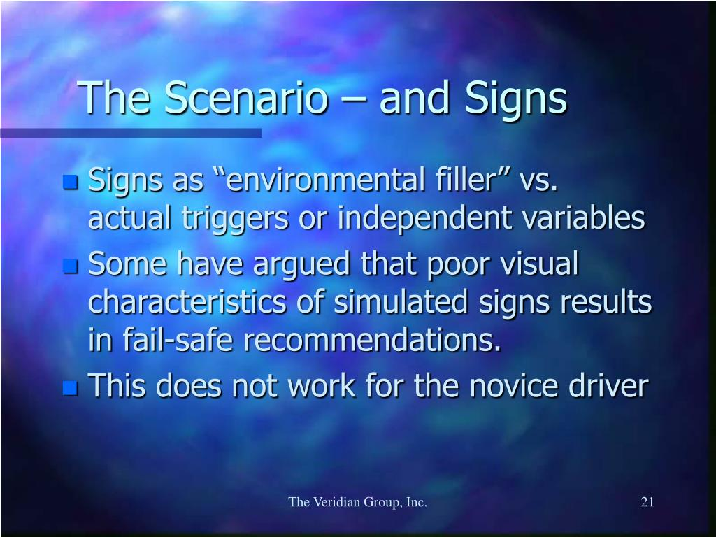 The Scenario – and Signs