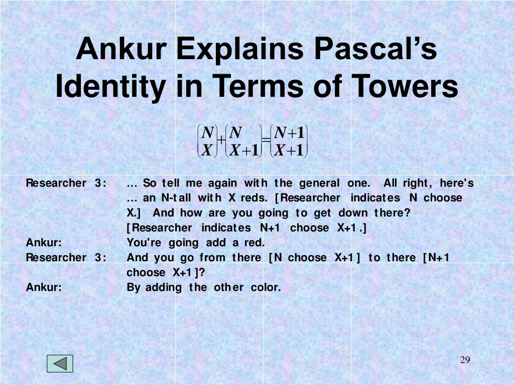 Ankur Explains Pascal's Identity in Terms of Towers