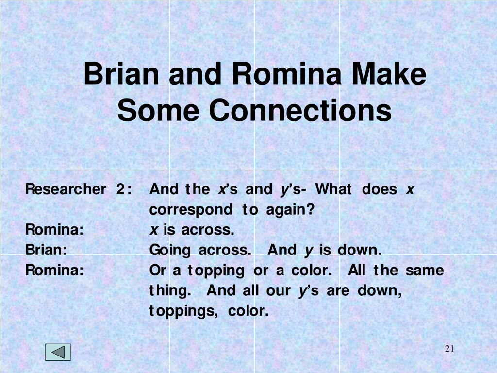 Brian and Romina Make Some Connections