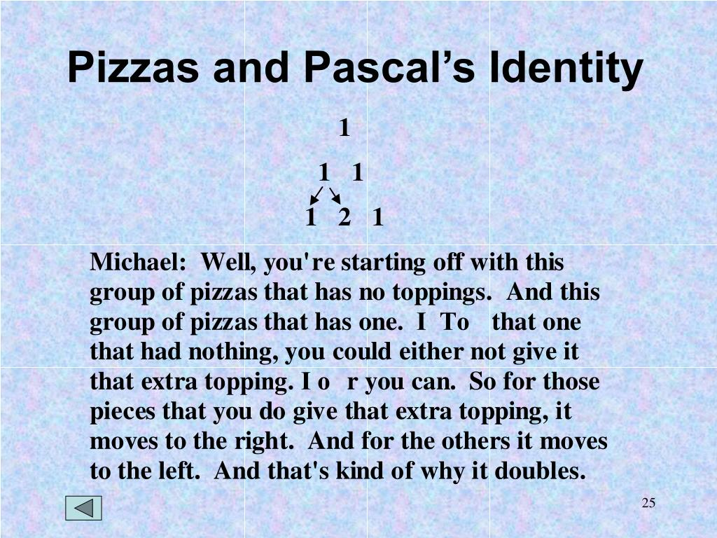 Pizzas and Pascal's Identity