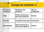energ a de ionizaci n 2